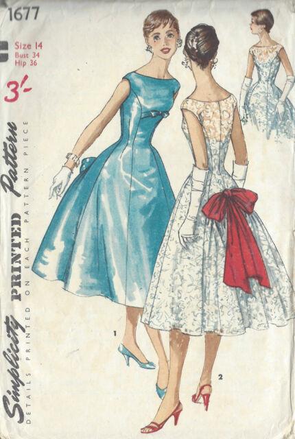 1484 1956 Vintage patrón de costura B3-4 Vestido