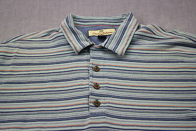 Tommy Bahama Logo Mens Blue Multi Color Stripe Silk Cotton Ss Polo Shirt L Aromatic Character And Agreeable Taste Men's Clothing