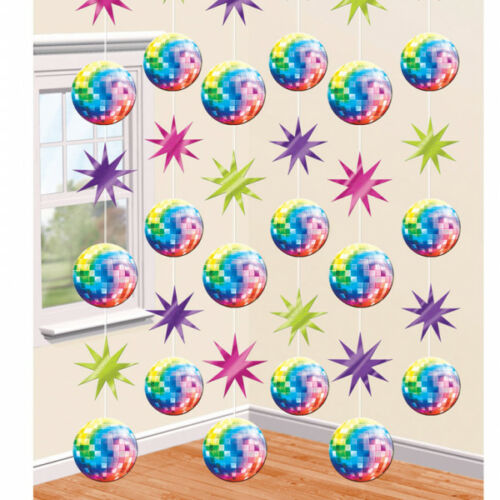 6 x 7ft Hanging String Disco Birthday Party Glitter Ball Decorations 60s 70s 80s