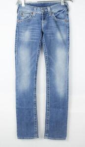 TRUE RELIGION Women Straight Leg Stretch Jeans Size W26 L34
