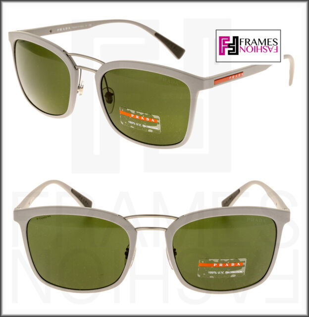 7eb4c8f3f54 PRADA LINEA ROSSA 03S Grey Rubber Green Mirrored Sport Sunglasses PS03SS 02S