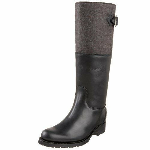 Koolaburra amy riding boots, top felt, merino lining, black, leather, us, s. 36