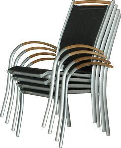 Das Bild Wird Geladen IB Style DIPLOMAT Stapelstuhl ALU 4er Set SIlber
