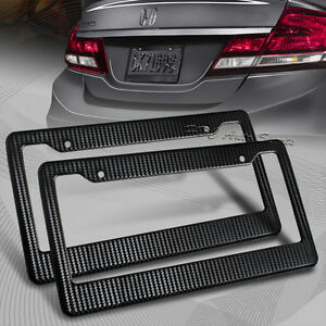 2 x JDM Black Carbon Look License Plate Frame Cover Front Rear Universal 1