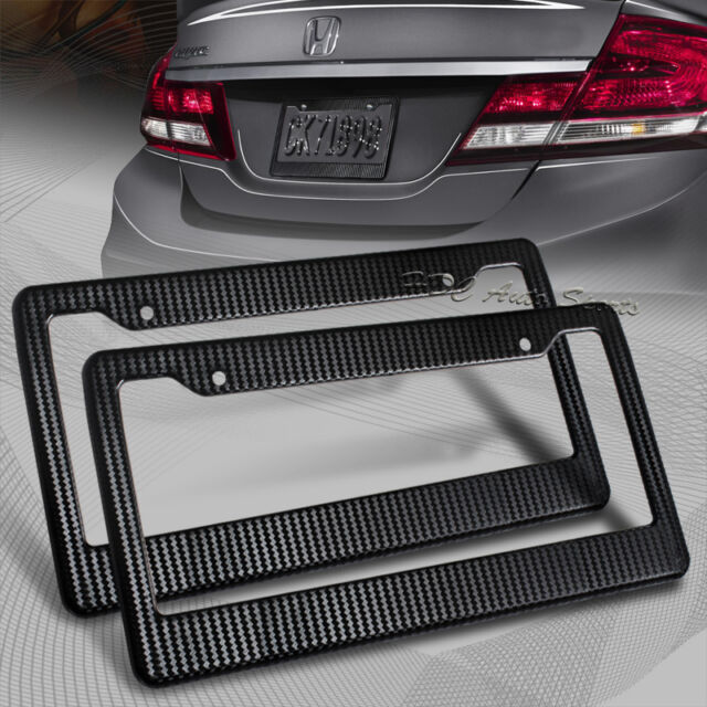 2 x jdm black carbon look license plate frame cover front & rear