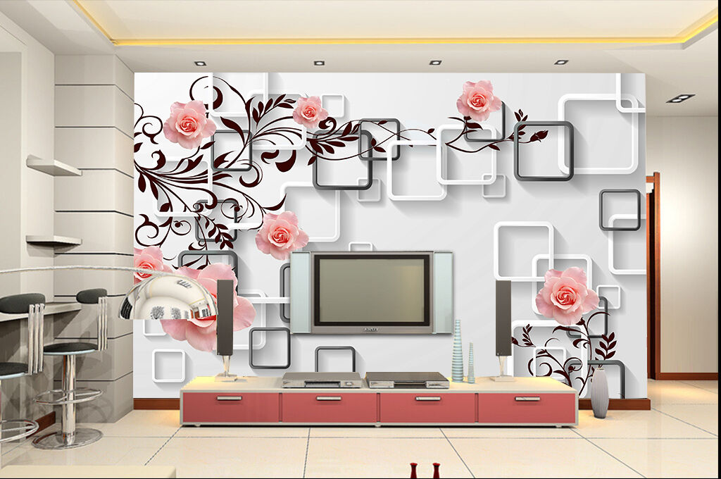 3D Boxes flowers leaves Wall Paper Wall Print Decal Wall Deco Indoor wall Mural