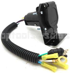 4 FLAT to 7 WAY RV TRAILER LIGHT PLUG WIRE HARNESS CONVERTER ADAPTER