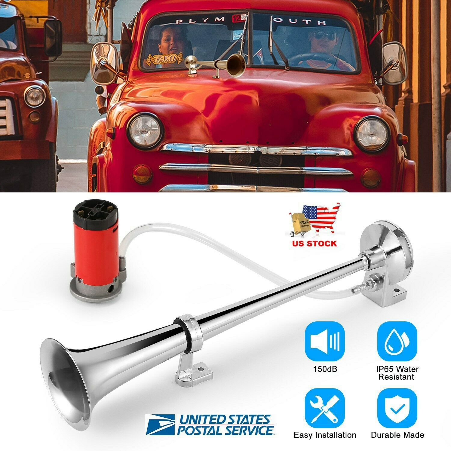 UTSAUTO 12V 150db Air Horn with Compressor 18 Inches Single Trumpet Truck Air Horn Kit for Any 12V Vehicles Trucks Lorrys Trains Boats Cars Motorcycle Red
