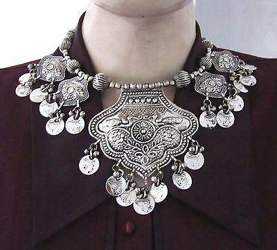 Tribal Statement Choker Bib Coin Necklace Boho Gypsy Belly dance Fashion Jewelry