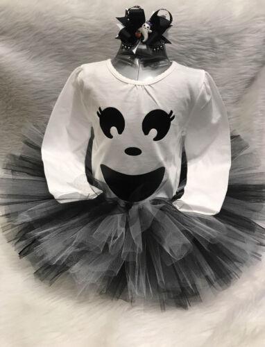 girls handmade black and white halloween ghost fluffy tutu costume set