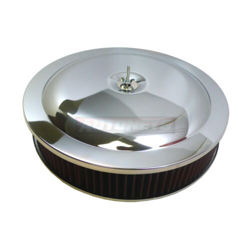 "14/""x3/"" Round Chrome Washable Reusable Filter Air Cleaner Drop//Recessed Base SBC"