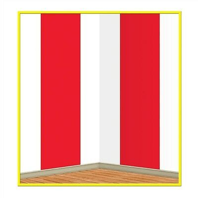 Big Top CARNIVAL Circus Tent RED & WHITE STRIPE Mural BACKDROP Party Photo Prop