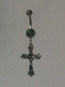 CRUCIFIX-2-Belly-Bar-dangle-Choice-of-colour-UK-made-Free-1St-C-Class-Post