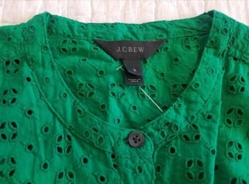 NEW 00 10 10p J CREW EYELET SHIRTDRESS SHIRT DRESS IN WARM CLOVER GREEN