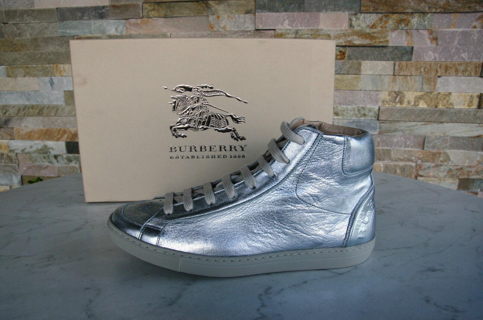 ORIG BURBERRY TAGLIA 39 High-Top Scarpe da Ginnastica normalissime scarpe UVP argento NUOVO UVP scarpe 1d6a63