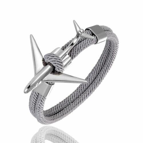 Acier Inoxydable Avion Ancre Corde Bracelet Bijoux Traveler Charm Bracelets