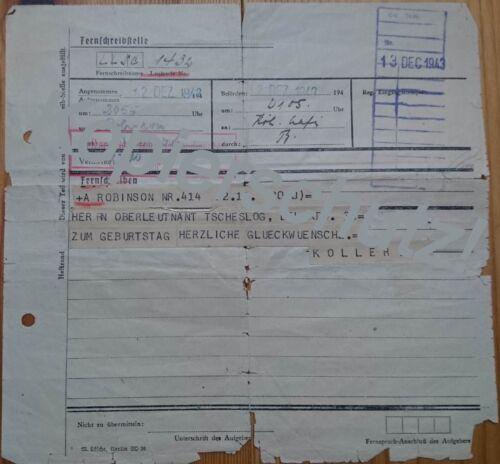 Altes Telegramm, Dezember 1943, Glückwunschtelegramm