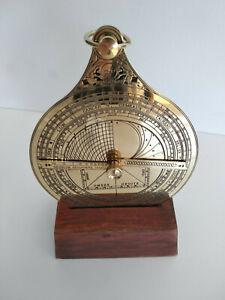 Astrolabe-nautique-en-laiton-neuf-sur-support-bois-en-Francais