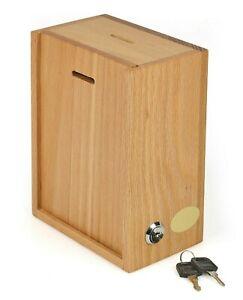 Yellow Acrylic Wall Donation Charity Box Suggestion Box With Lock And 2 Keys 01b