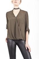 Women's Khaki Wrap Top Blouse Shirt Smart Casual Office Wear Size 10-22