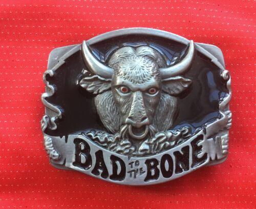BAD TO THE BONE BULLS HEAD HORNS RODEO STEER TEXAS LONGHORN MATADOR BELT BUCKLE