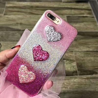 3D Love Heart Glitter Soft TPU Case For iPhone 6s 7 Plus Colorful Bling Cover