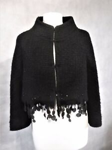 Wool 12 Uk Trimmed Scanlan amp; Boucle Pure Jacket Theodore Cropped Black UqvdMw