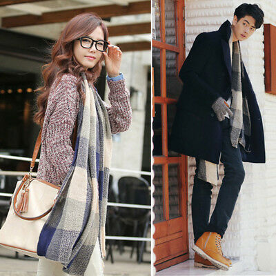 Hot Men Women Knitted Soft and Fluffy Retro Art Long Scarves Wool Plaid Shawls