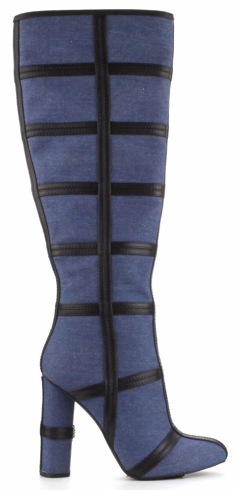 Maura-3 Knee High Denim Closed Toe Block Heel Boots Side Zipper  Blue