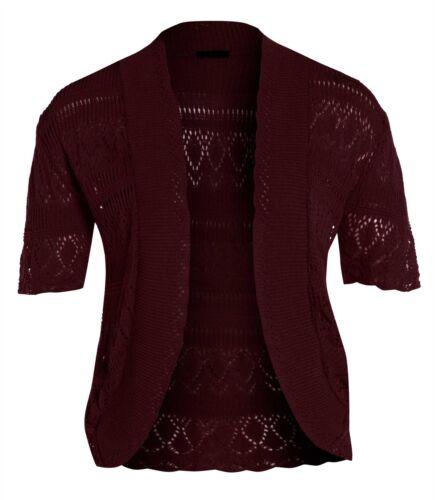 New Womens Plus Size Crochet Knit Cardigans Fishnet Bolero Tops 16-26