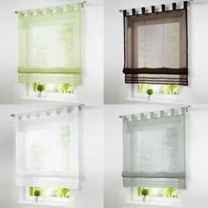 Details About European Style Solid Color Kitchen Voile Roman Curtains Sheer Window Blinds