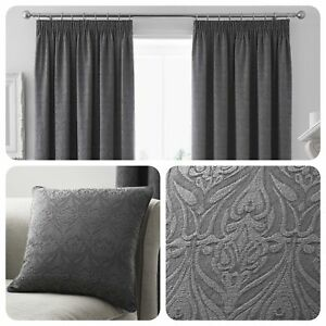 Curtina-VOYSEY-Graphite-Grey-Damask-Pencil-Pleat-Curtains-amp-Cushions
