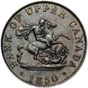1850 Bank Of Upper Canada Token Dragon Breton 720