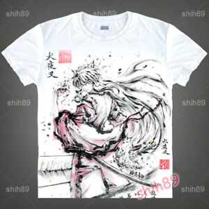 Anime-Inuyasha-Casual-Tee-T-shirt-Short-Sleeve-Unisex-Tops-Ink-Print-White