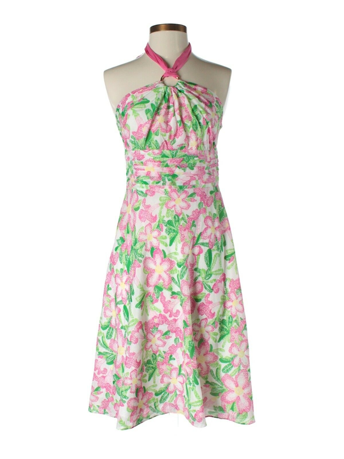 New damen Lilly Pulitzer Silk Blend Rosa Grün Laurel Flower Dress Größe 2