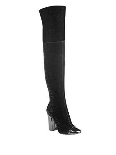 Guess Fabric Lolo 8.5 M Over Knee High Party Boots Block Heel Black Multi Fabric