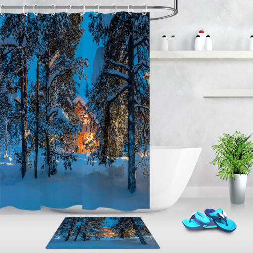 Night Winter Forest Cabin Bathroom Shower Curtain Set Waterproof Fabric Hooks