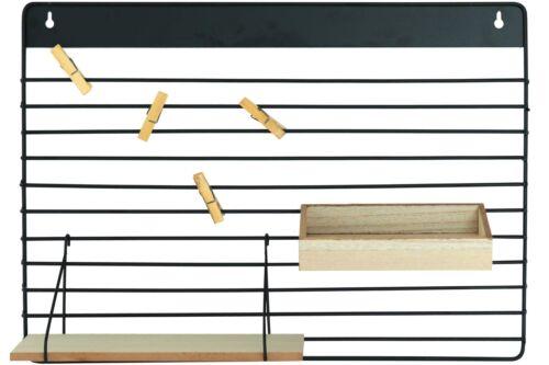 Metall Wandregal mit Holzablagen und Klammern 55,5 x 40 cm Deko Regal Hängeregal