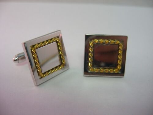 Gorgeous Rope Twist Border Squares Silver Tone Vintage Mens Cufflinks Jewelry