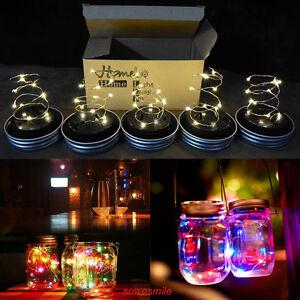 multi color outdoor solar jar design. Image Is Loading Solar-10LEDs-Fairy-Light-Solar-Mason-Jar-Lid- Multi Color Outdoor Solar Jar Design M
