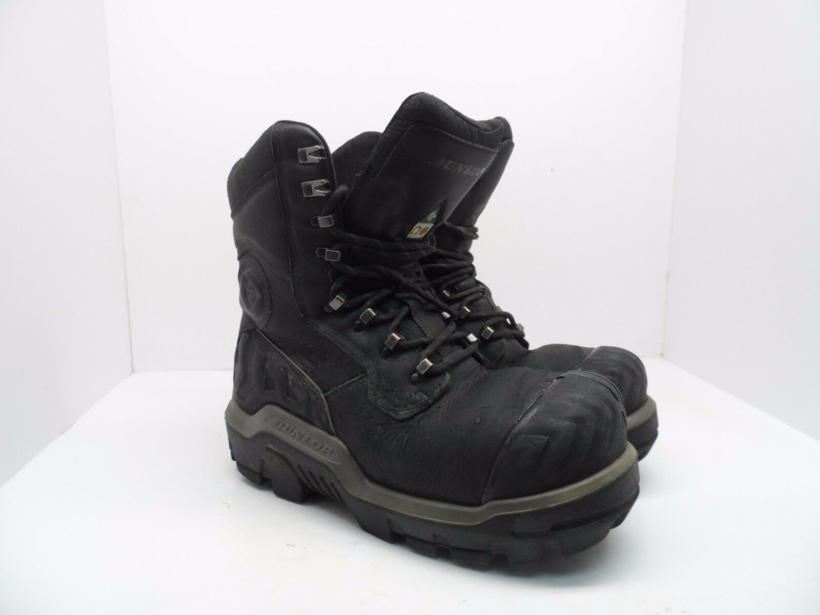 Dunlop Men's 8'' Composite Toe Composite Plate WP Leather Work Boots Black 9M