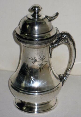 ANTIQUE-SILVER-PLATED-SYRUP-PITCHER-REED-amp-BARTON-PATENTED-212-w-ENGRAVED-LEAF
