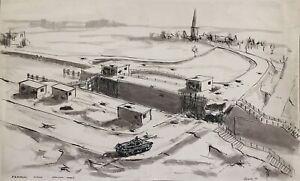 Robert Warren ARIBA, WWII Tank at Panheel Lock 1944, Belgium – 1946 ink drawing