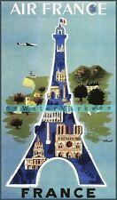 Eiffel Tower 1952 Paris France Vintage Poster Print Retro Travel Tourism Decor