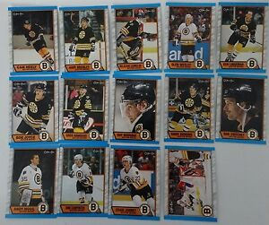 1989-90-O-Pee-Chee-OPC-Boston-Bruins-Team-Set-of-14-Hockey-Cards