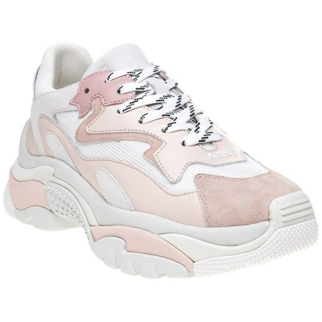 New Womens Ash Trainers White Pink Addict Leather Trainers Ash Running Style Lace Up 3e95ac