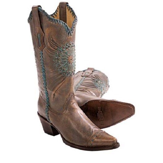 Nuevas Nuevas Nuevas botas campestres Para Mujer Marrón Turquesa medallón Cristales y diagonal en bordes de arranque  en venta en línea