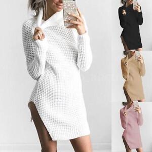 NEW-Women-Turtleneck-Winter-Split-Long-Sleeve-Sweater-Jumper-Knit-Bodycon-Dress