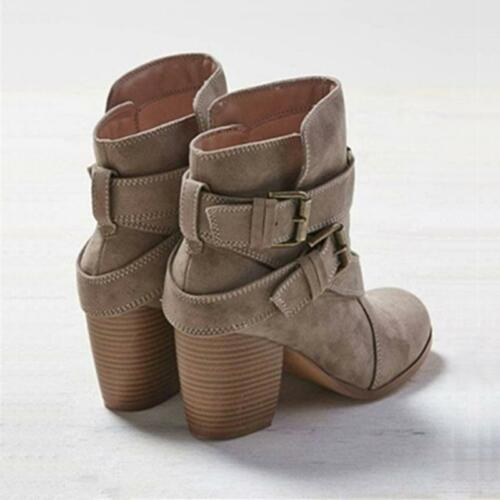 Fashion Ladies Heels Boot Shoes Short Ankle Mid Heel Boots Women Martin Shoes