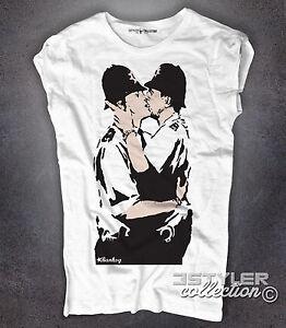 De Londres Bobbies Detalles Callejero Mujer Kiss Policías Beso Camiseta Banksy Arte m0w8yvnON